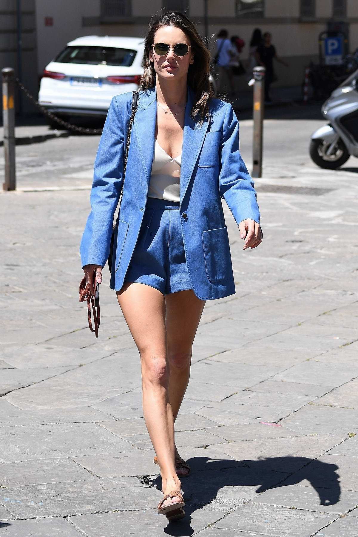 Alessandra Ambrosio stuns in a blue shorts suit as she steps out in Florence, Italy
