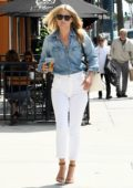 Ali Larter keeps it cool in a blue denim shirt paired with white denim pants while out to grab a coffee in Los Angeles