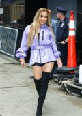 Ally Brooke wears a purple jacket, black shorts and thigh high black boots while visiting Good Morning America in New York City