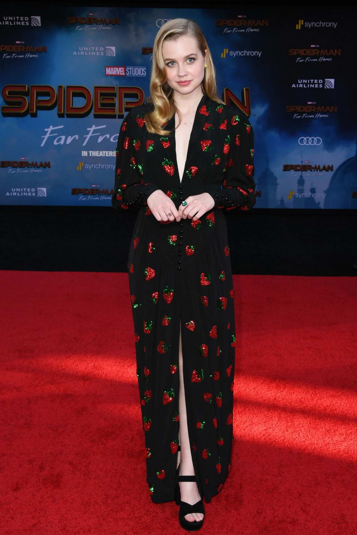 Angourie Rice attends the premiere of 'Spider-Man: Far From Home' at TCL Chinese Theatre in Hollywood, California
