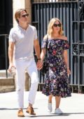Annabelle Wallis and Chris Pine hold hands as they step out for stroll in New York City