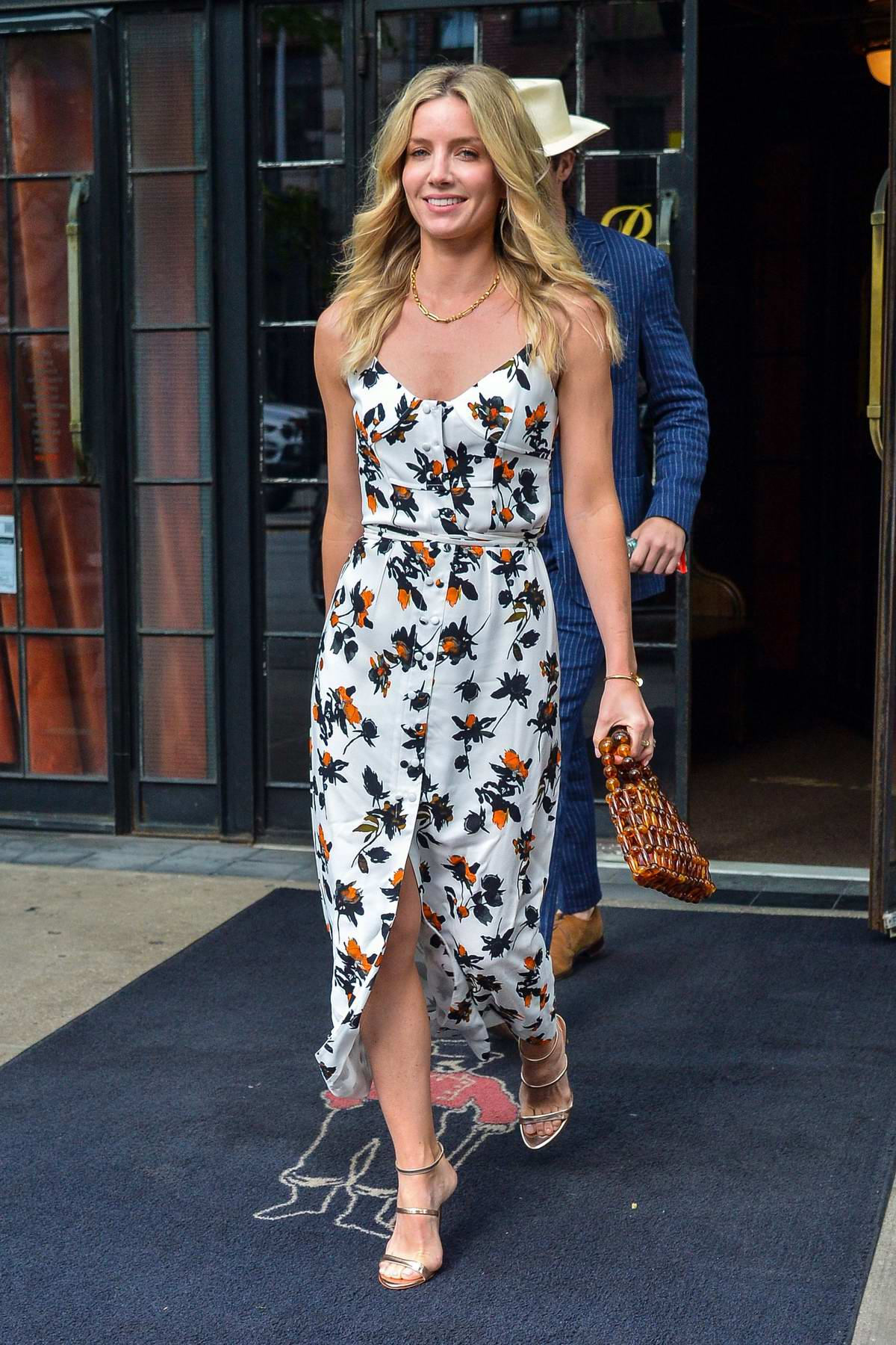 Annabelle Wallis is all smiles as she leaves The Bowery Hotel with Chris Pine in New York City