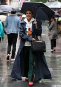 Ashley Roberts keeps it stylish as she arrives in the rain at Global Radio Studios in London, UK