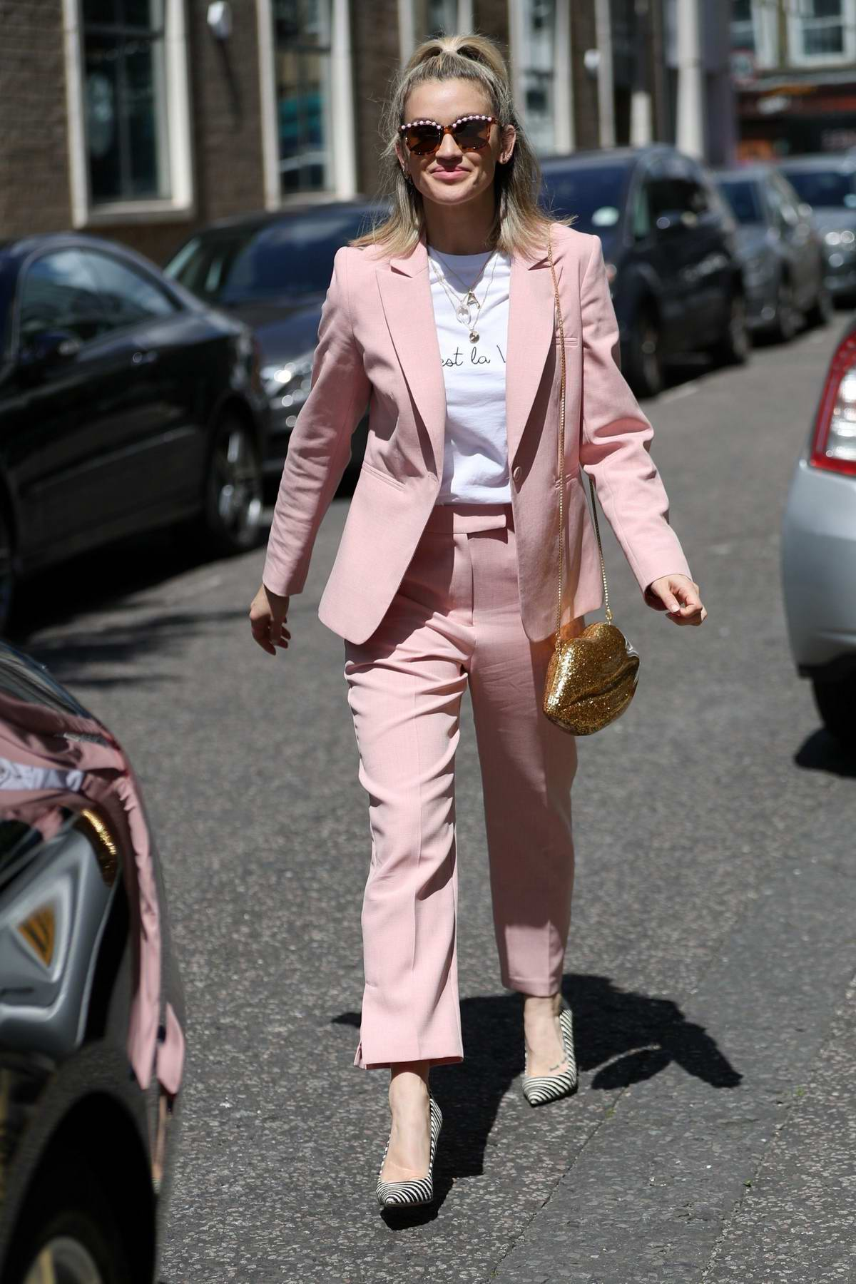 Ashley Roberts looks stylish in a pink suit as she leaves BBC's Saturday Kitchen TV Show in London, UK