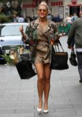 Ashley Roberts rocks a trendy romper paired with camo jacket as she leaves the Global Radio Studios in London, UK
