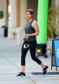 Ashley Tisdale sports tank top and leggings as she leaves after a workout session in Studio City, Los Angeles