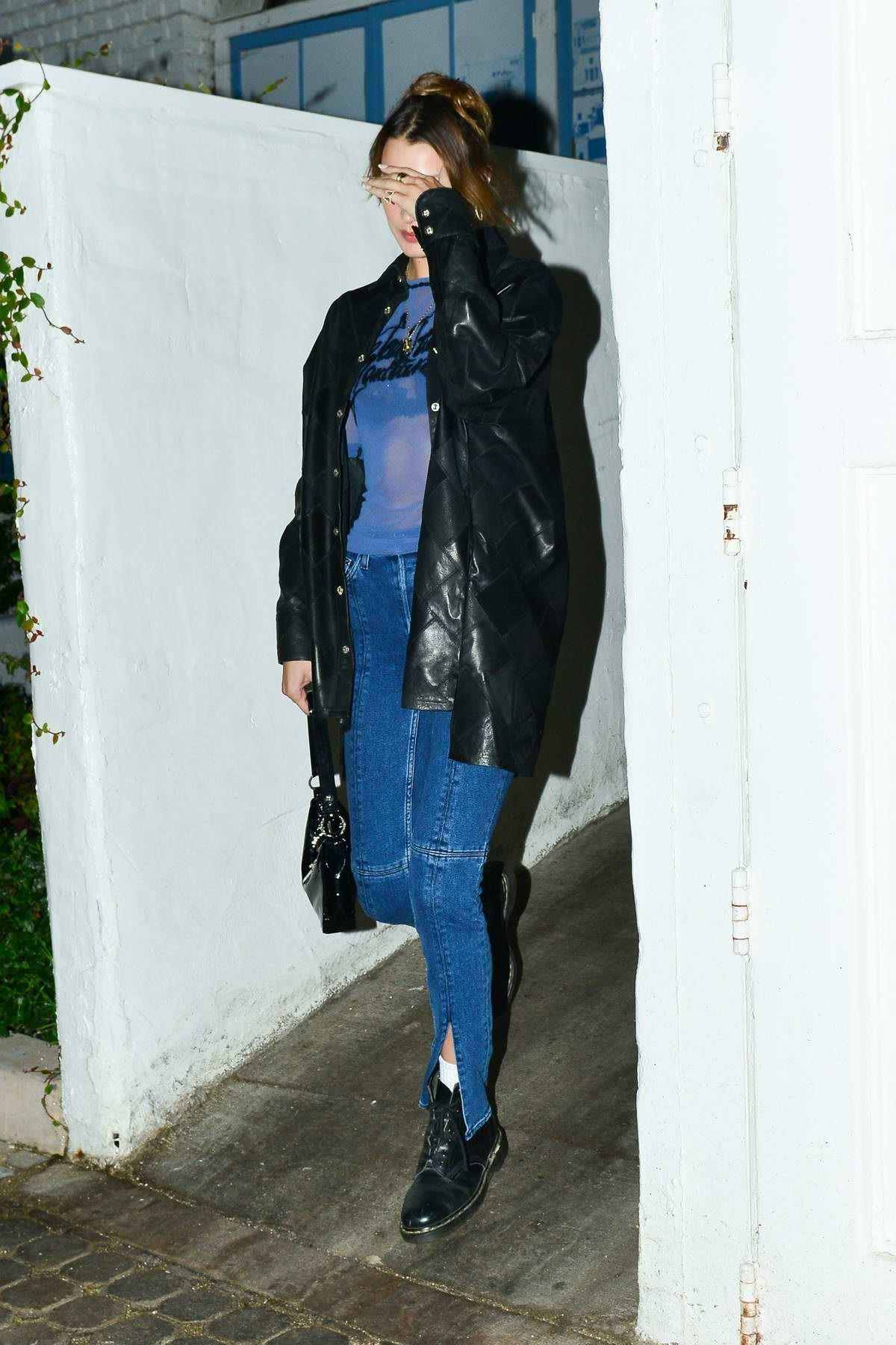 Bella Hadid and The Weeknd head out for a dinner date at Taverna Tony in Malibu, California