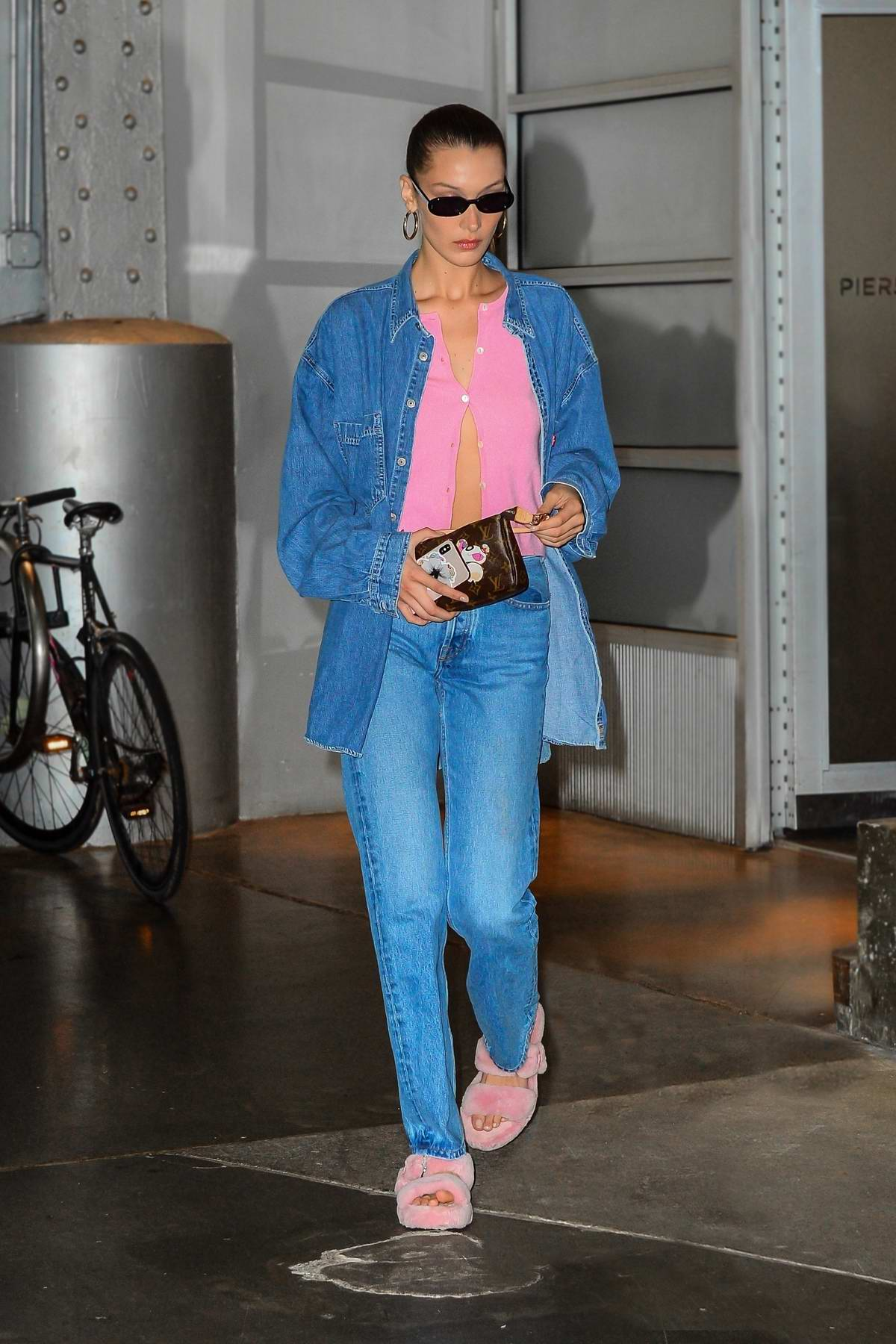 Bella Hadid spotted in double denim as she leaves Pier56 Studios in New York City
