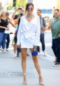 Bella Thorne looks stunning in a white mini-dress as she leaves BuzzFeed in New York City