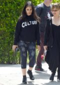 Camila Cabello keeps it casual in a sweatshirt and leggings as she leaves a friend's house with her mom in Los Angeles