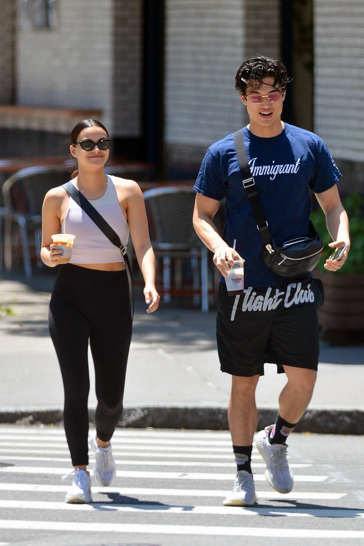 Camila Mendes steps out in tank top and leggings for a coffee run with Charles Melton in New York City
