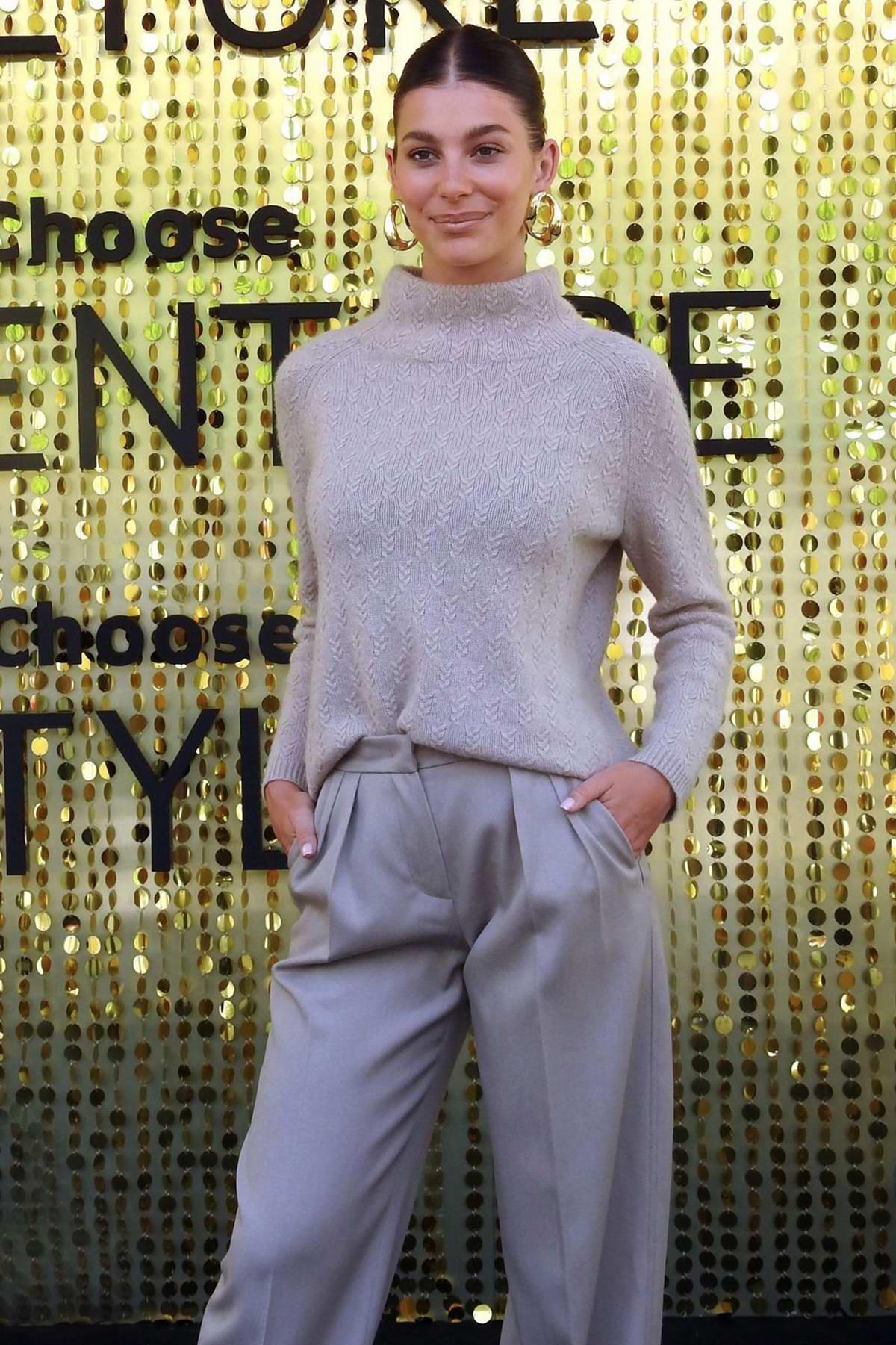 Camila Morrone attends the Lola Casademunt photocall during 080 Barcelona Fashion Week in Barcelona, Spain