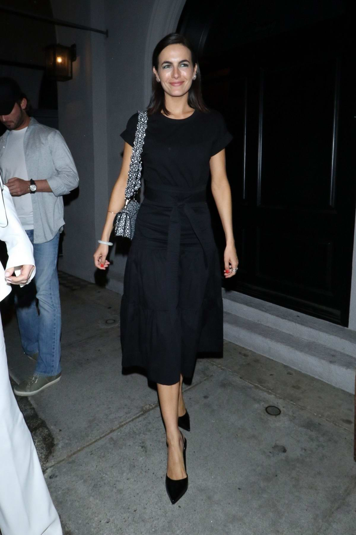 Camilla Belle is all smiles as she leaves after dinner with friends at Craig's restaurant in West Hollywood, Los Angeles