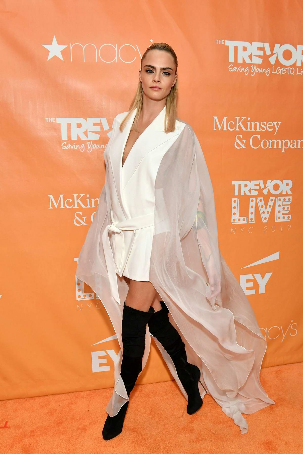 Cara Delevingne attends the 2019 TrevorLIVE New York Gala at Cipriani Wall Street in New York City