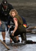 Chloe Grace Moretz spotted filming an action scene for her upcoming action-horror movie 'Shadow in the Cloud' in New Zealand