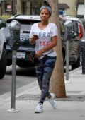 Christina Milian hangs out at her Beignet Box food truck in Studio City, Los Angeles