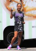 Christina Milian poses in front of her Beignet Box Food Truck in Studio City, Los Angeles