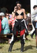 Dua Lipa attends the 2019 Glastonbury Festival, Day 3 at Worthy Farm in Pilton, UK