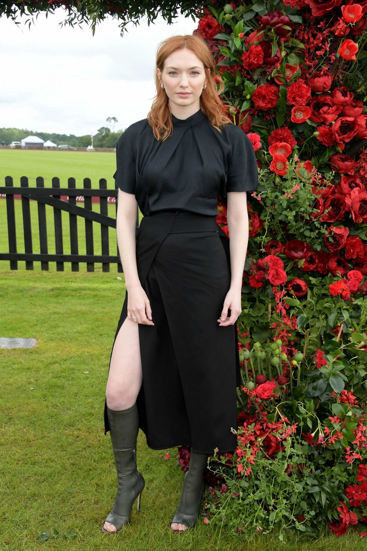 Eleanor Tomlinson attends the 2019 Cartier Queen's Cup Polo Final in Windsor, UK