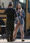 Elizabeth Olsen spotted between takes on the set of her show 'Sorry for Your Loss' in Los Angeles