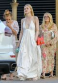 Elle Fanning looks stunning white while celebrating Father's Day at Nobu in Malibu, California