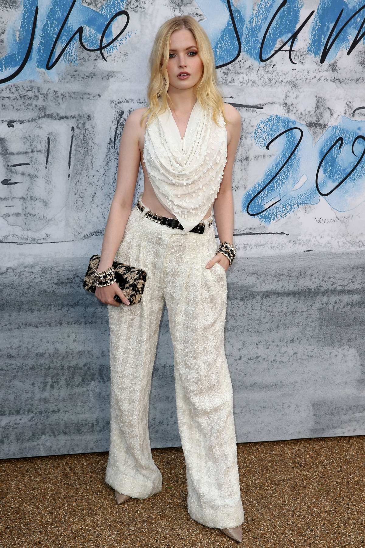 Ellie Bamber attends The Summer Party 2019 at Serpentine Gallery at Kensington Gardens in London, UK