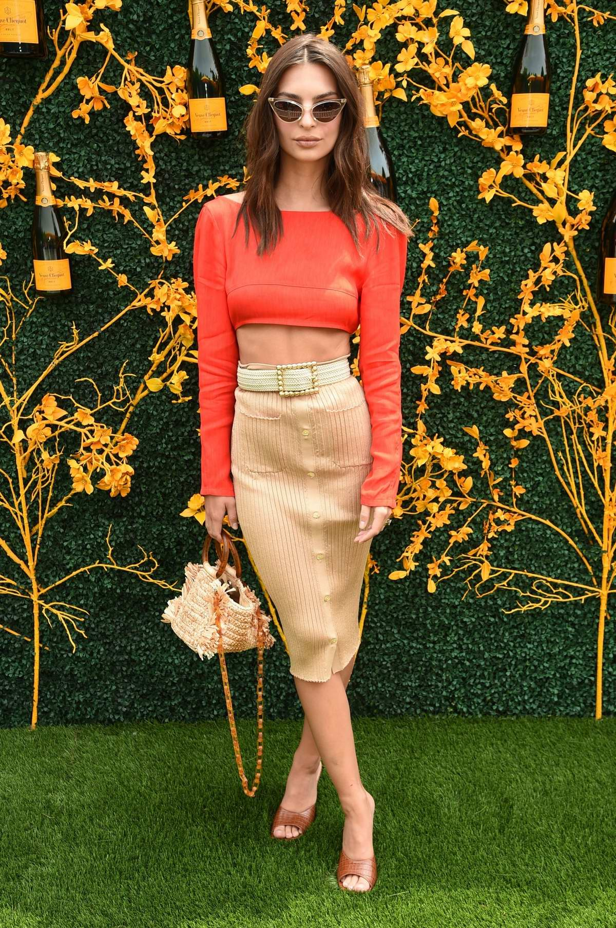 Emily Ratajkowski attends the 12th Annual Veuve Clicquot Polo Classic in Liberty State Park, Jersey City, New Jersey