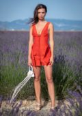 Emily Ratajkowski attends the Jacquemus Spring/Summer 2020 show in Valensole, France