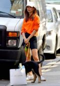 Emily Ratajkowski drops off her puppy Colombo to a dog-sitter in New York City