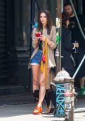 Emily Ratajkowski seen waiting for Uber with her pup Colombo in New York City