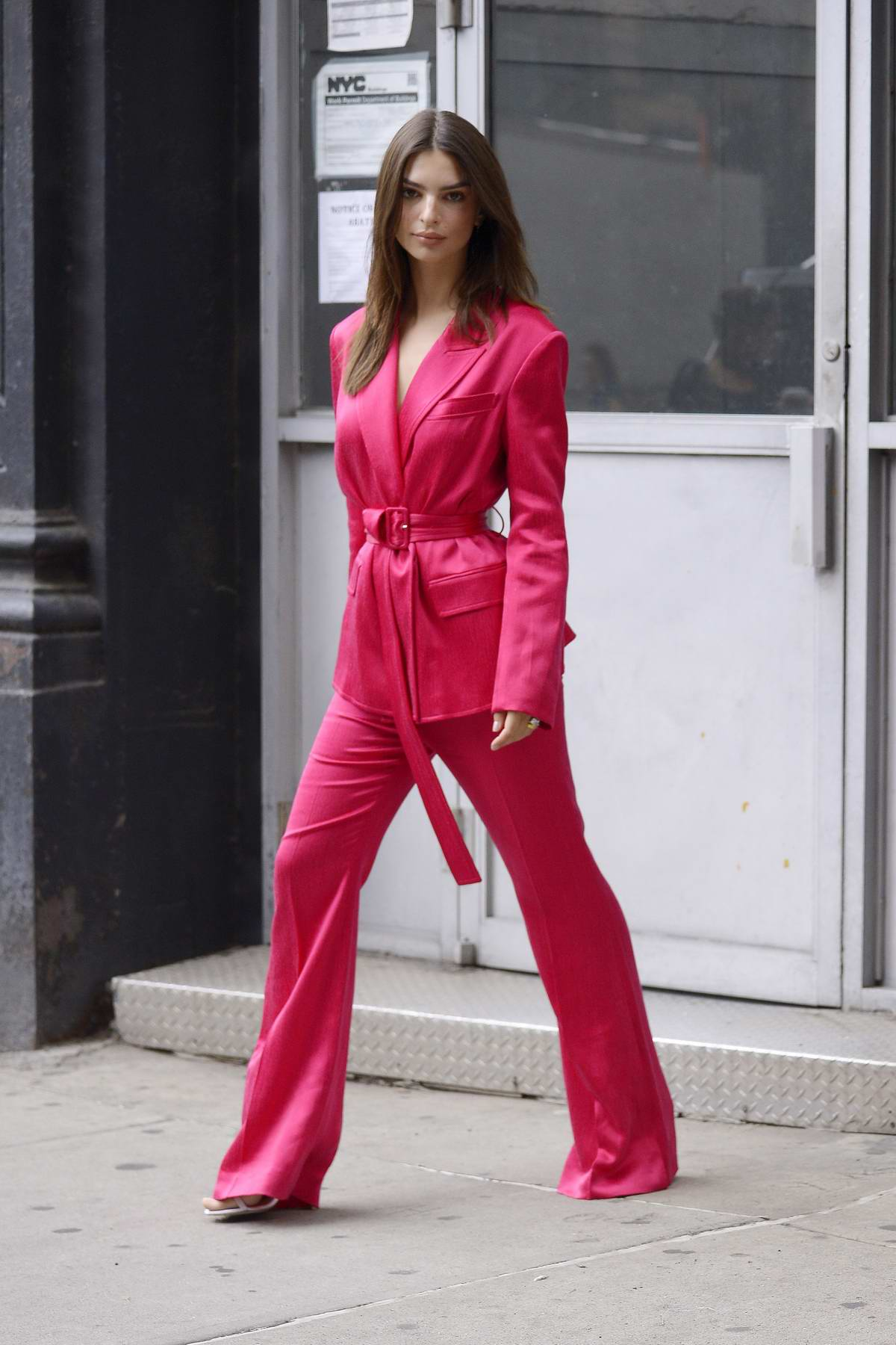 Emily Ratajkowski steps out in hot pink in New York City