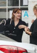 Emma Watson dresses down for a meeting over coffee in Venice, California