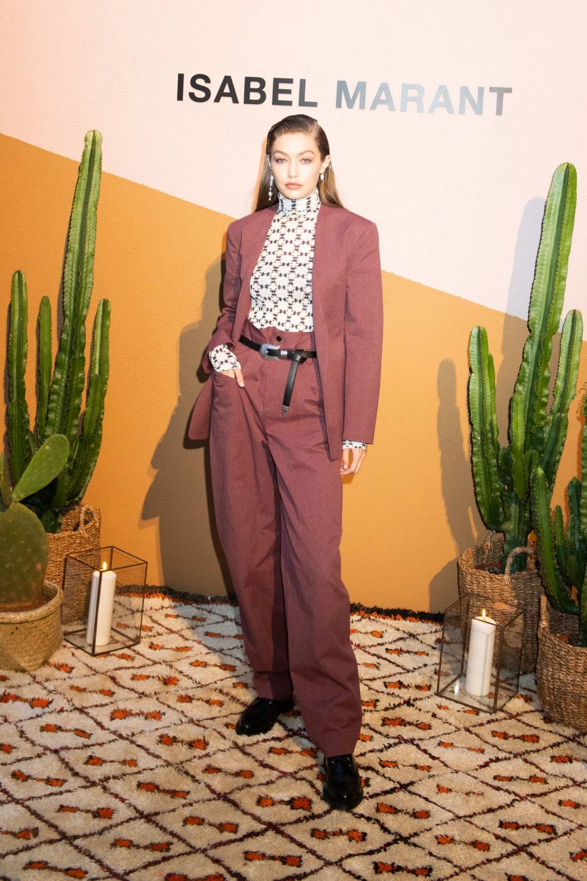 Gigi Hadid attends the Isabel Marant Party during Milan Men's Fashion Week Spring/Summer 2020 in Milan, Italy