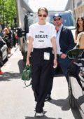 Gigi Hadid attends the Berluti Menswear Spring/Summer 2020 show during Paris Fashion Week in Paris, France