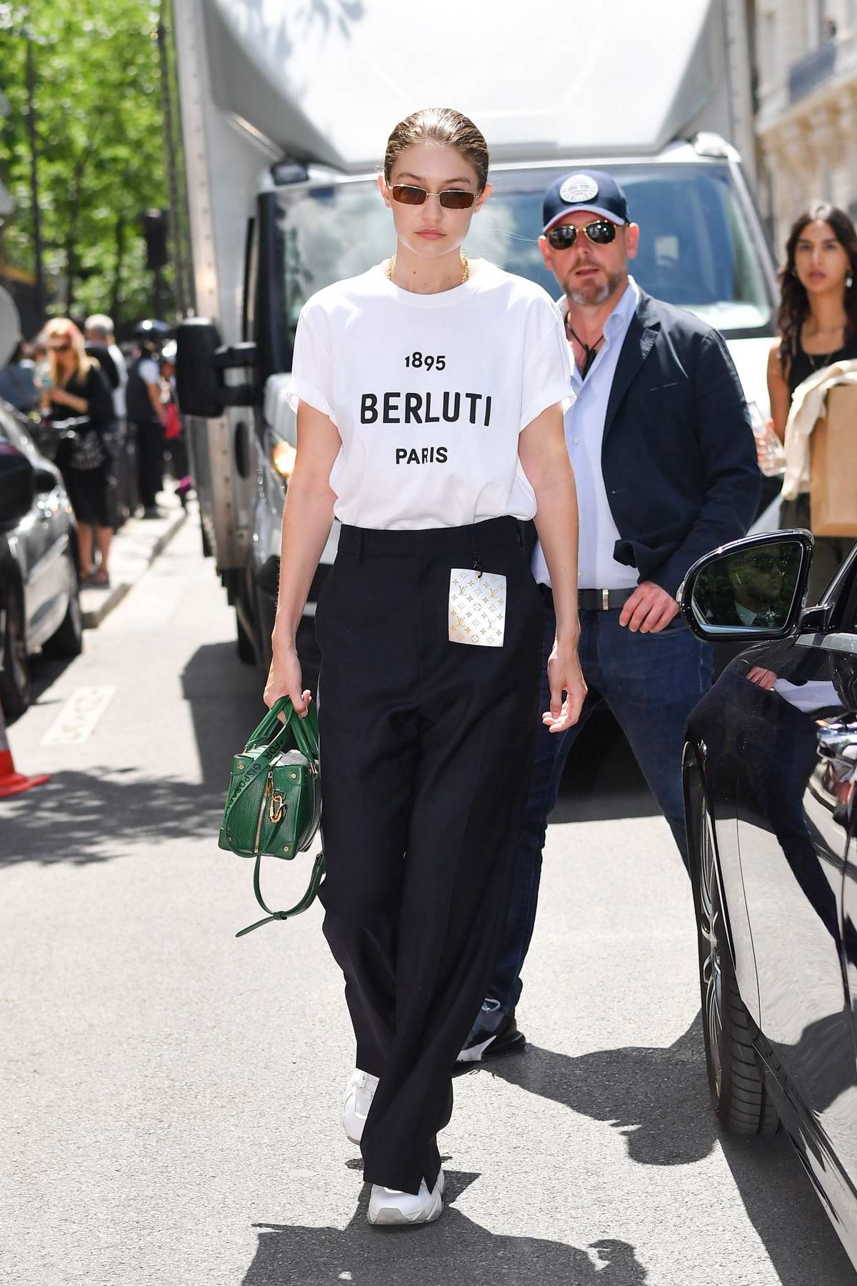 Gigi Hadid attends the Berluti Menswear Spring/Summer 2020 show during Paris Fashion Week in Paris, France