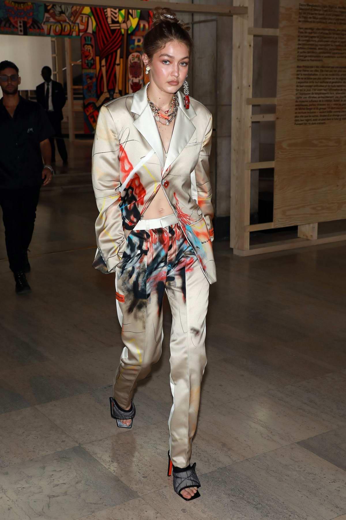 Gigi Hadid attends the Heron Preston Menswear Spring/Summer 2020 show during Paris Fashion Week in Paris, France