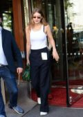 Gigi Hadid seen leaving The Royal Monceau Hotel in Paris, France