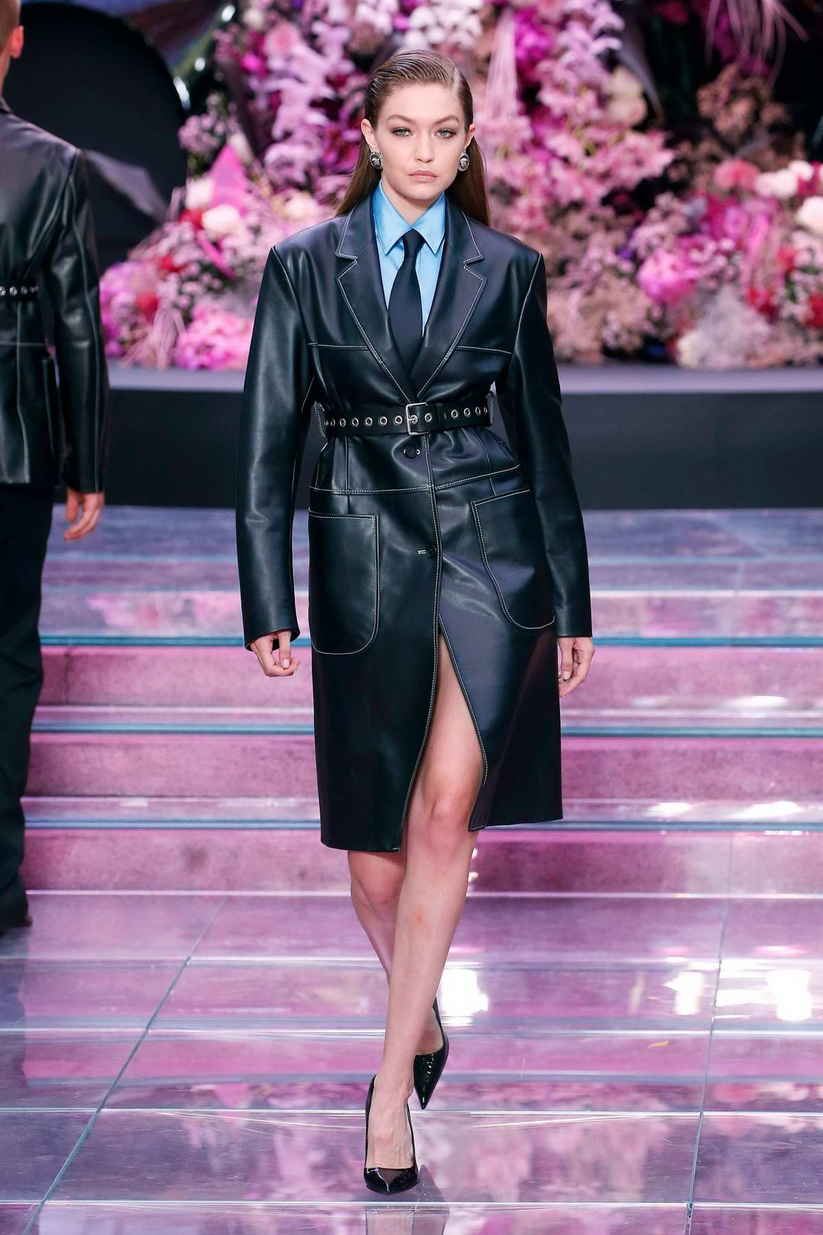 Gigi Hadid walks the runway during the Versace fashion show Spring/Summer 2020 in Milan, Italy