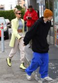 Hailey Baldwin and Justin Bieber make a trip to a Juice bar in Hollywood, California