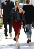 Hailey Baldwin heads for a new blonde hairdo at Nine Zero One salon in Los Angeles