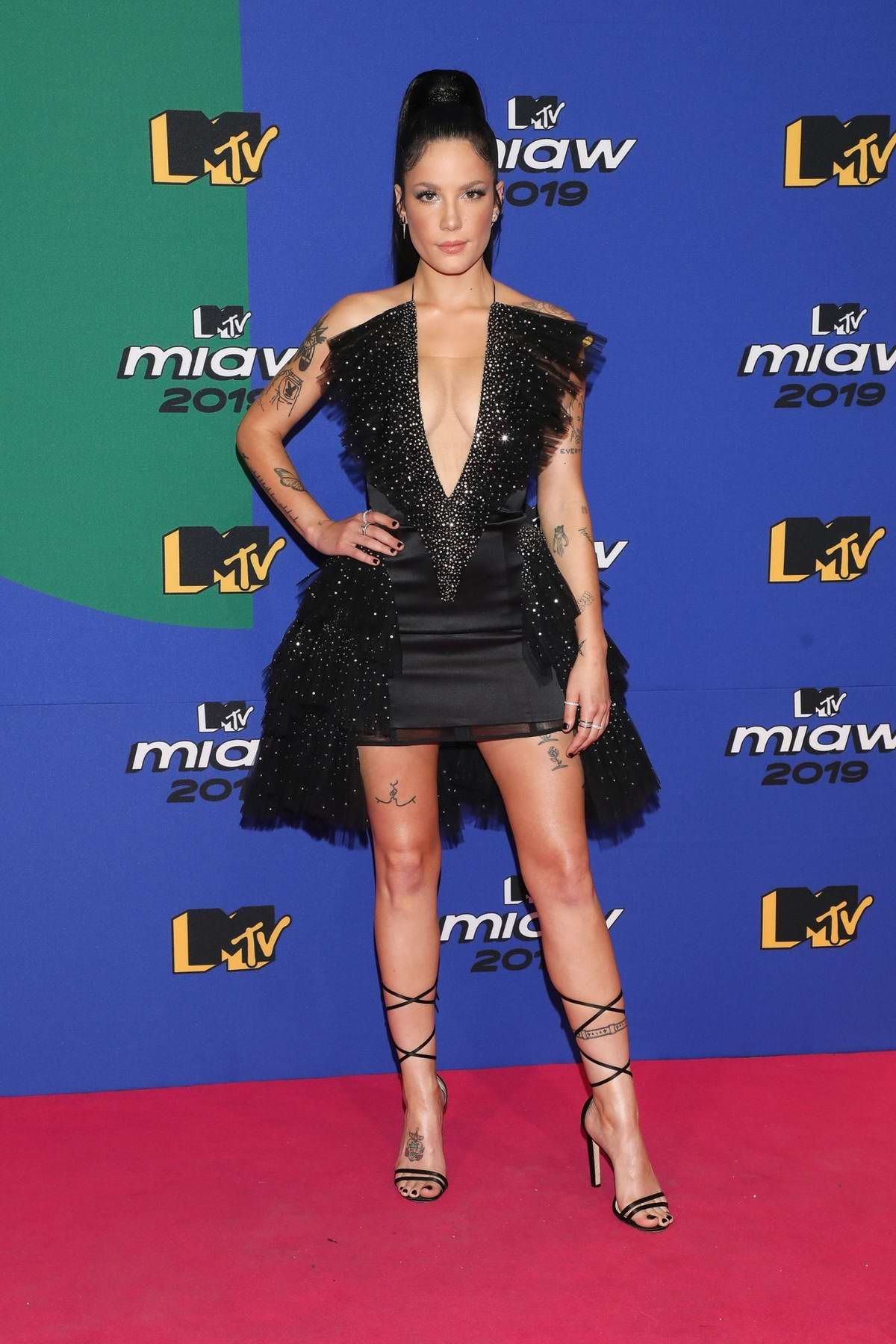 Halsey attends the red carpet of the MTV MIAW Awards at Palacio de los Deportes in Mexico City, Mexico