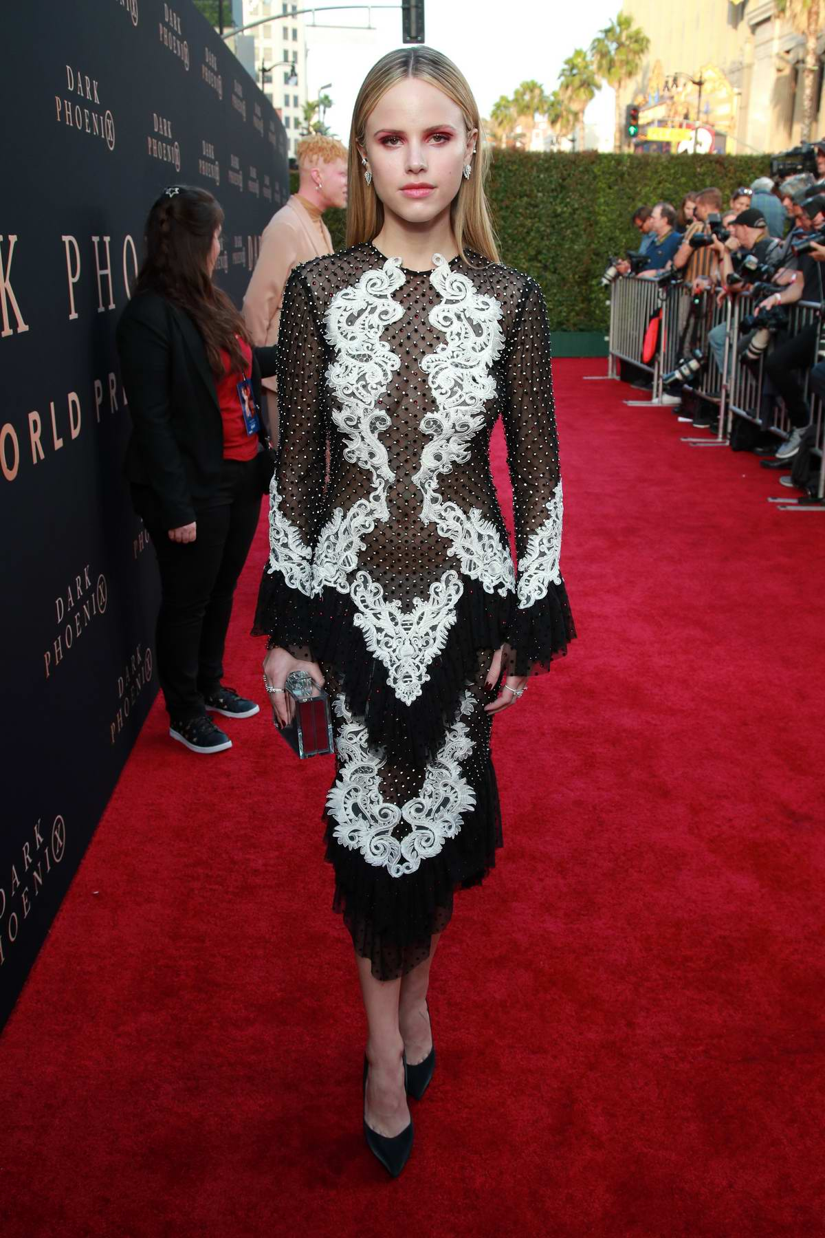 Halston Sage attends 'X-Men: Dark Phoenix' premiere at TCL Chinese Theatre in Hollywood, California