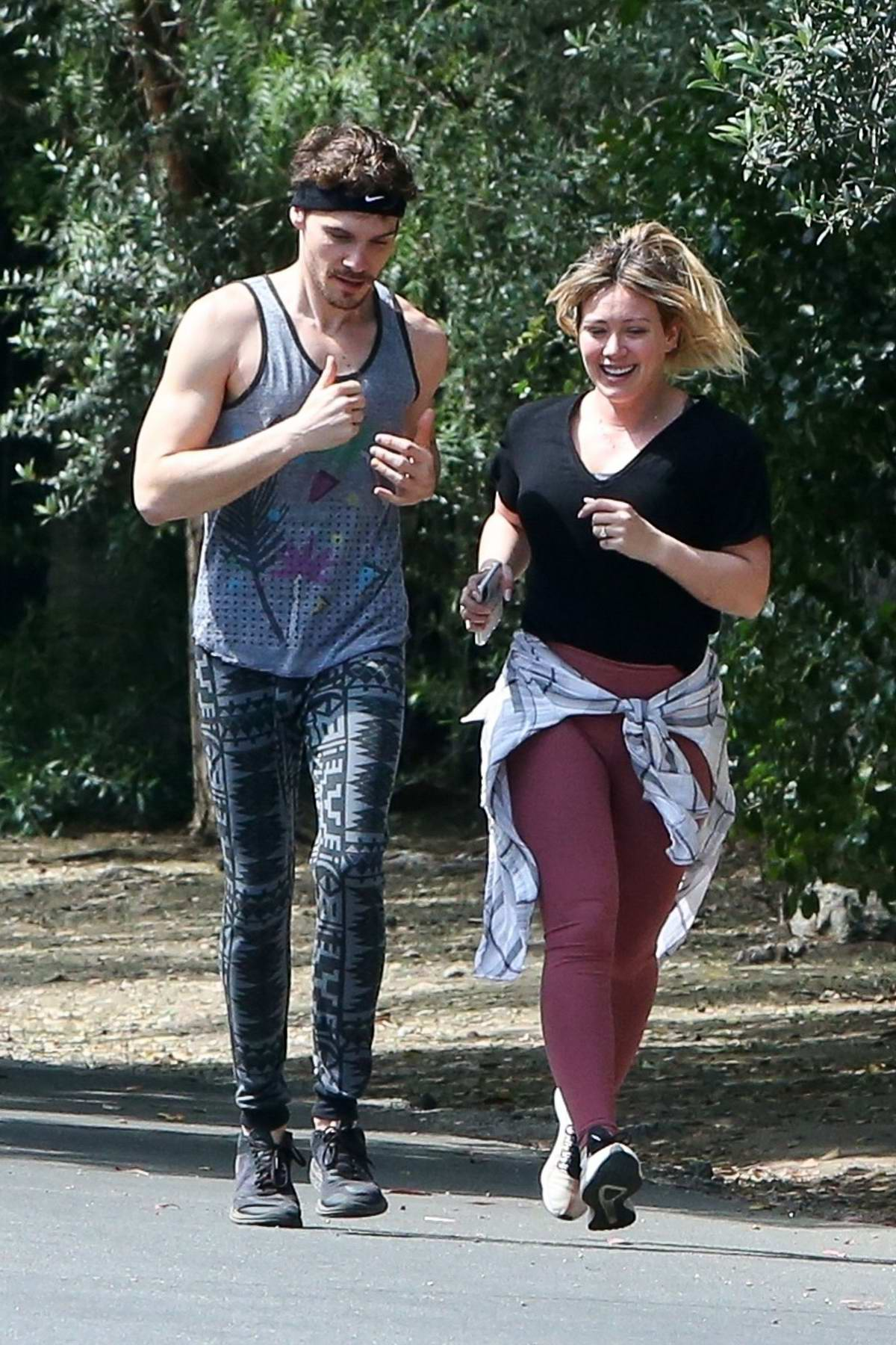 Hilary Duff and Matthew Koma are all smiles while taking a morning jog in Los Angeles