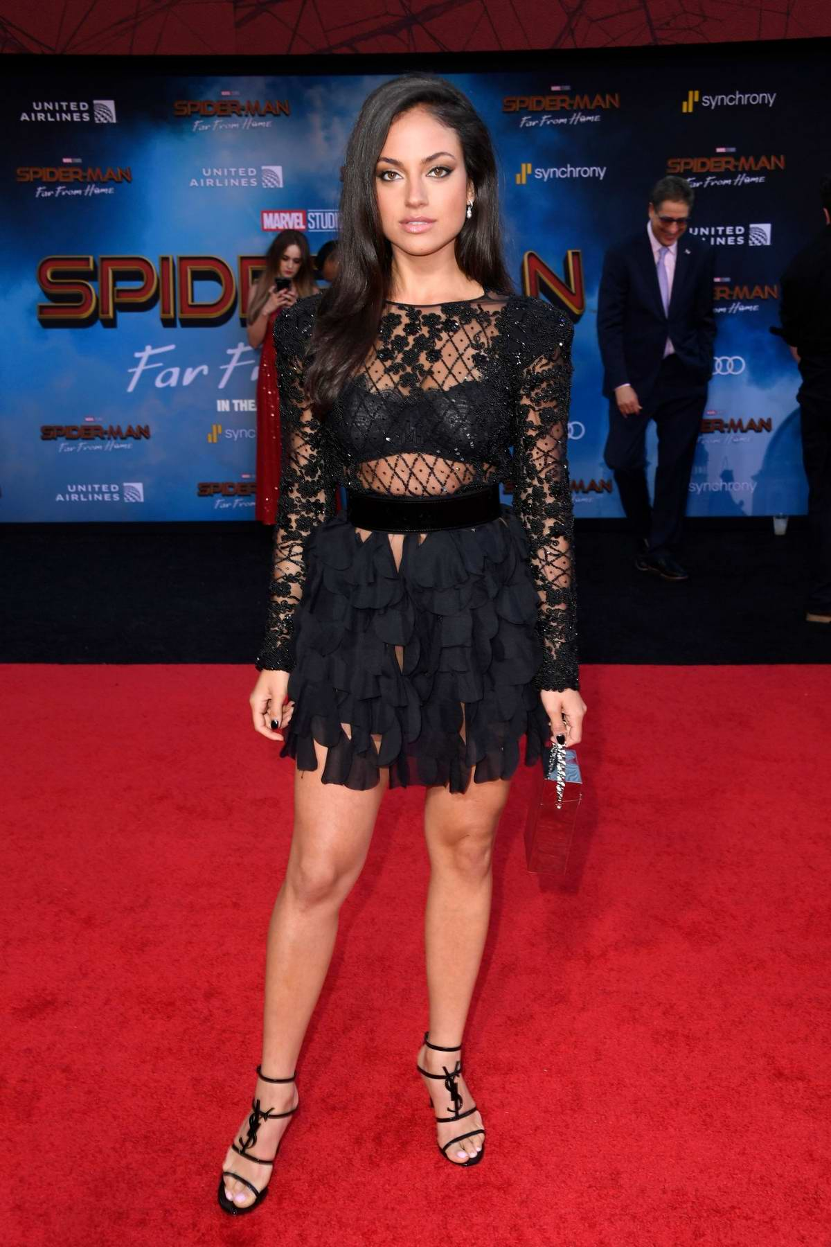 Inanna Sarkis attends the premiere of 'Spider-Man: Far From Home' at TCL Chinese Theatre in Hollywood, California