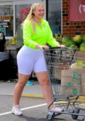Iskra Lawrence dons neon green top and white biker shorts during a trip to Whole Foods for some grocery shopping in New Jersey