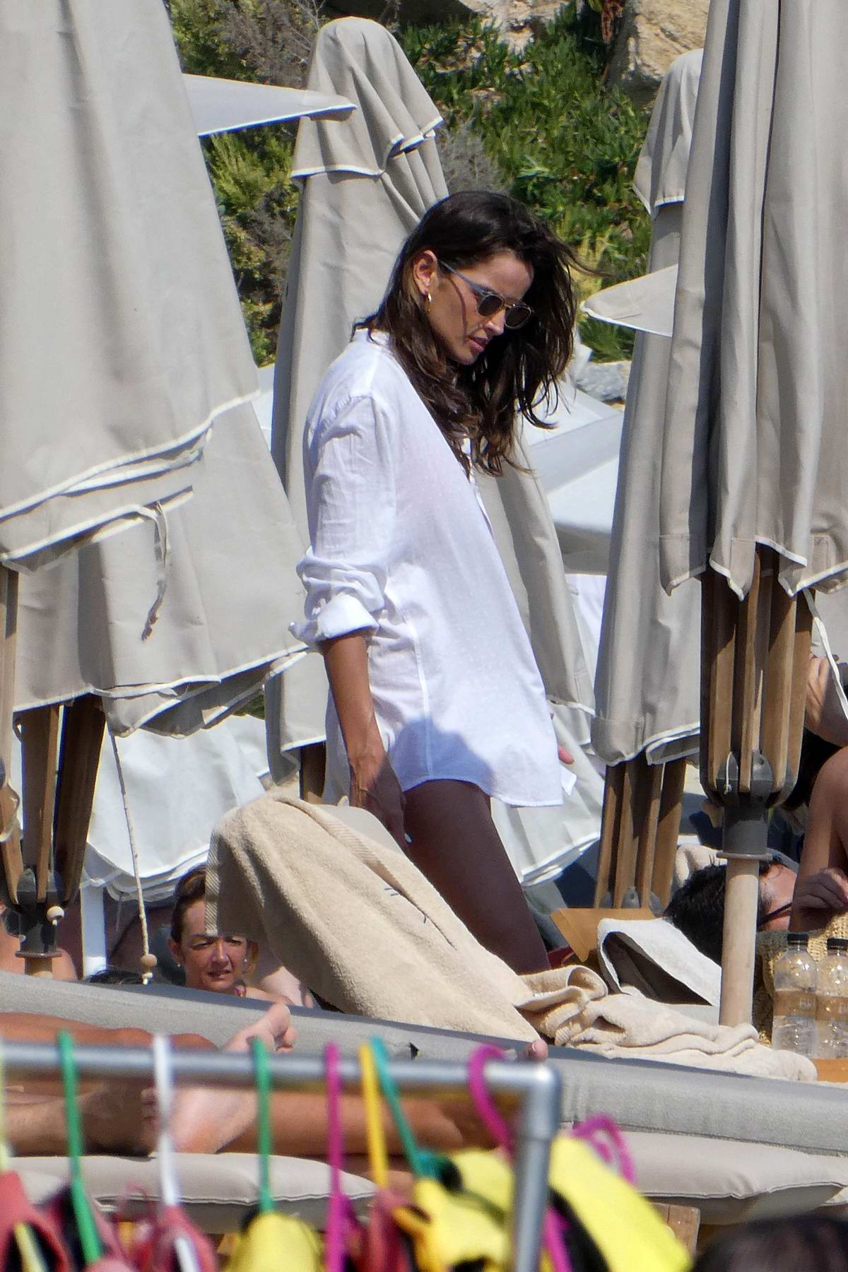 Izabel Goulart and Kevin Trapp spend a relaxing day at the beach in Mykonos, Greece