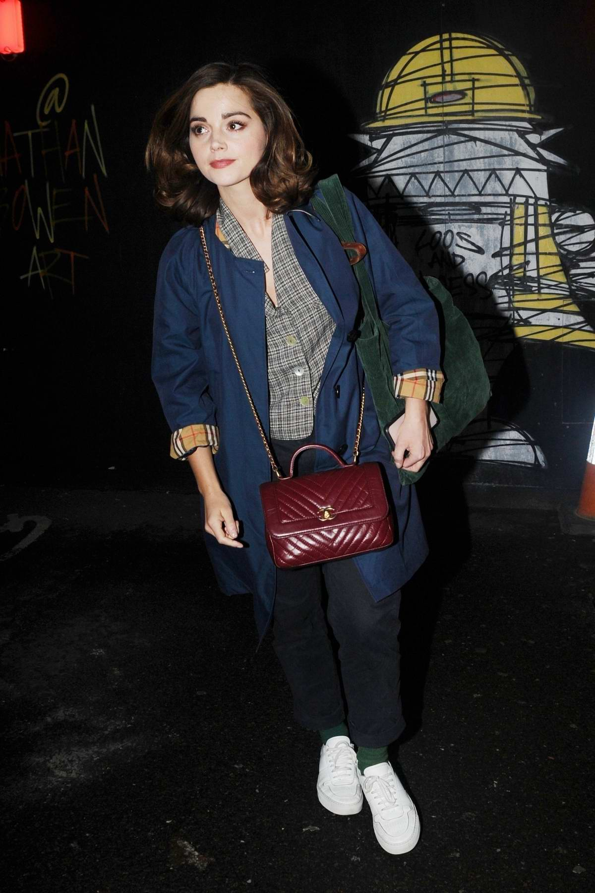 Jenna Coleman seen leaving The Old Vic theatre in London, UK