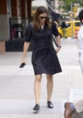 Jennifer Garner seen wearing a black dress with a leather backpack as she steps out in New York City