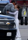 Jennifer Lopez and Alex Rodriguez are seen at the airport saying good bye to each other in Miami, Florida