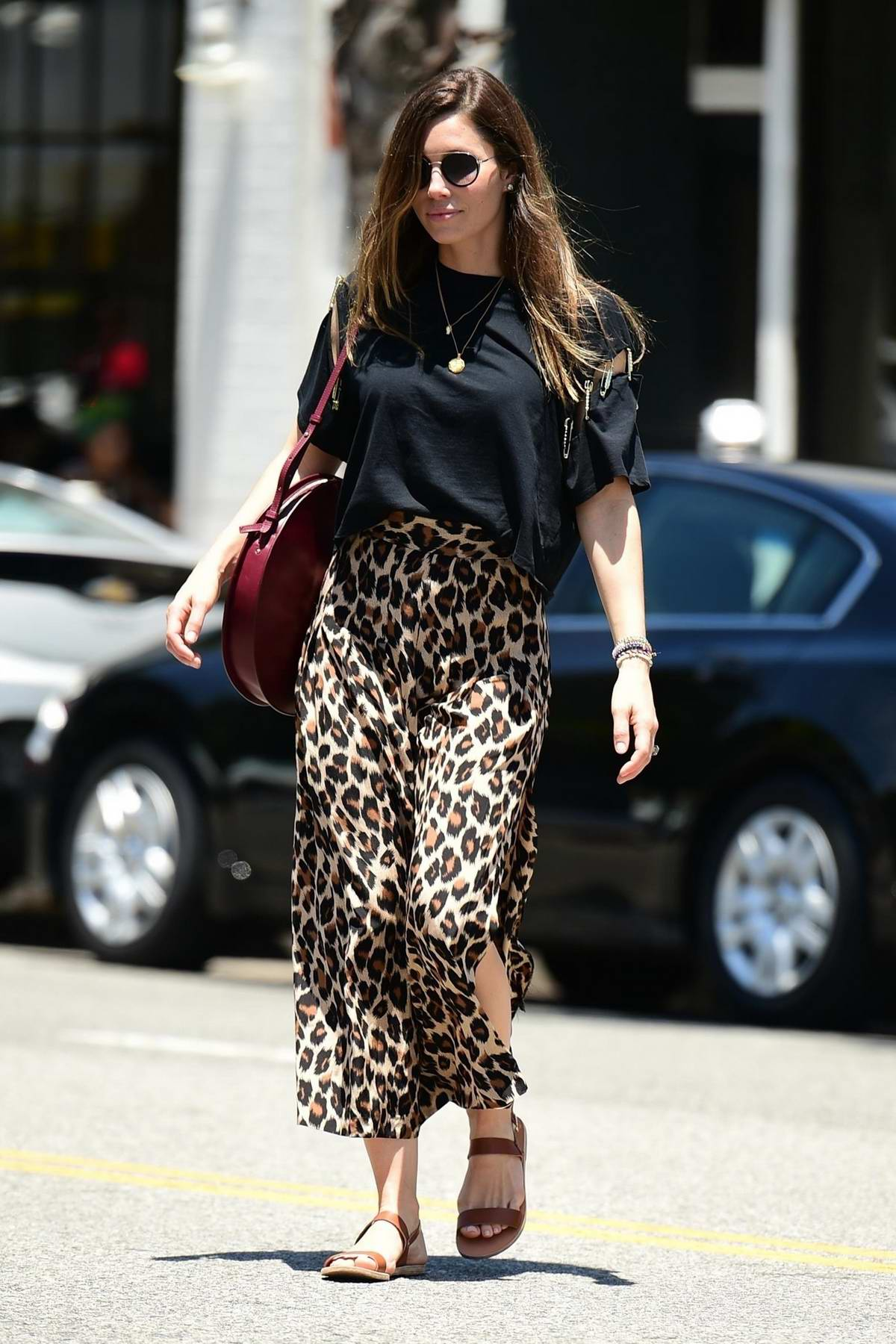 Jessica Biel dons black top and leopard print while for lunch with a friend at Joan's on Third in Los Angeles